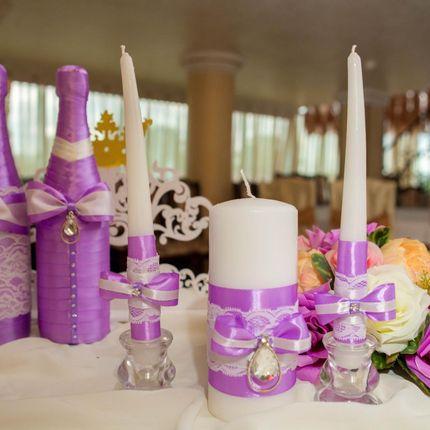Оформление бутылок шампанского и свечей