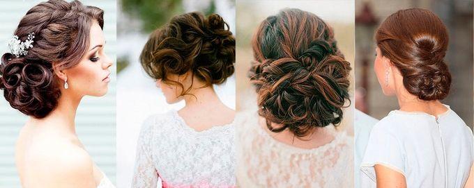 Фото причесок невесты на средние волосы
