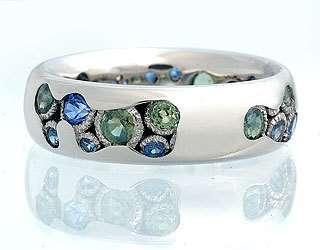 белое золото, зеленые и голубые сапфиры - фото 6456206 Национальный ювелирный дом