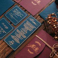 Печать шелкографией, бархатная вкладочка, золотой шнурок, роскошная плотная дизайнерская бумага винного и глубокого синего цветов.