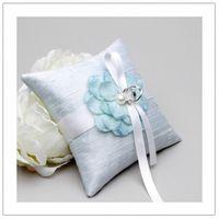 Голубая подушечка для колец с цветком, hand made