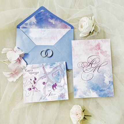 Приглашение + конверт + карта проезда
