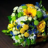 Гербера, краспедия, 3 вида хризантем, статица, вероника, роза