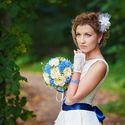 синяя свадьба, портрет невесты, невеста, синяя лента, букет невесты, свадебная прогулка