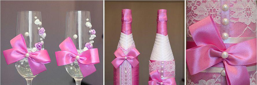 Как из ленты украсить бокалы для свадьбы