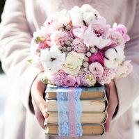 аптекарский огород, прованс, шебби шик, розовый, букет, хлопок, книги