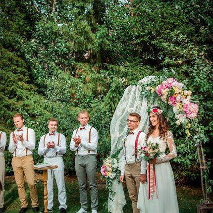 Оформление церемонии цветами и текстилем