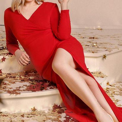 Яркое платье с разрезом