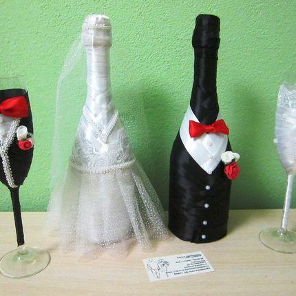Украшение бокалов и шампанского