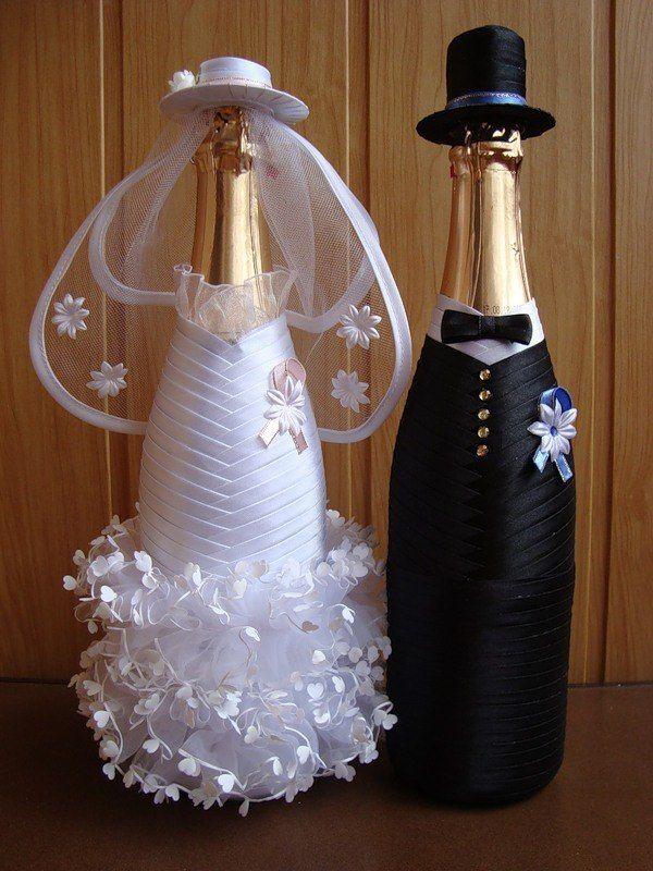 Свадебные украшения бутылок фото
