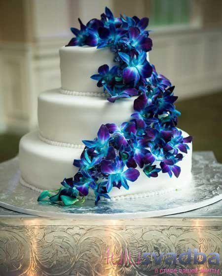 Свадебный торт синий фото