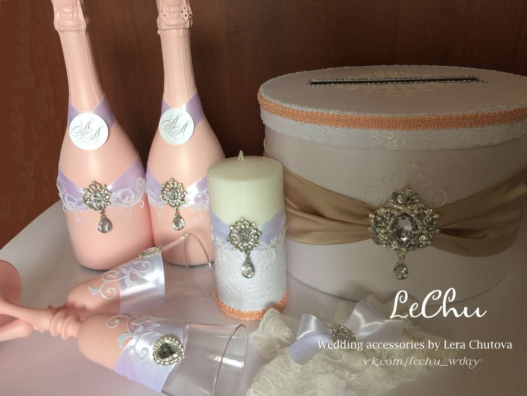 """Свадебный набор в стиле Прованс, изготовлен на заказ. Возможно исполнение в другой цветовой гамме - фото 14839784 Мастерская аксессуаров """"Lechu"""""""