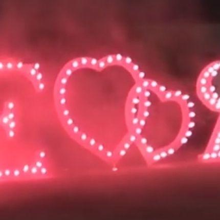 Огненные надписи и сердца