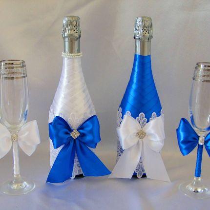Украшение бутылок шампанского свадебных