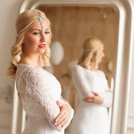 Свадебная тика из стеклянного жемчуга Лила