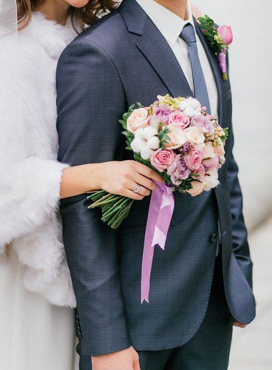 Очень нежный букет невесты и бутоньерка!
