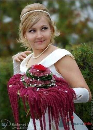 Дизайнерский букет невесты с амарантом - фото 1090 Флорист-дизайнер Елена