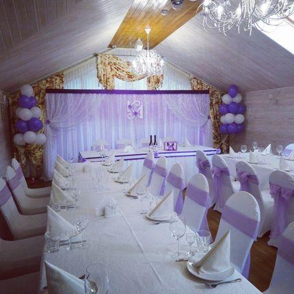 оформление зала - сиреневая, лавандовая свадьба