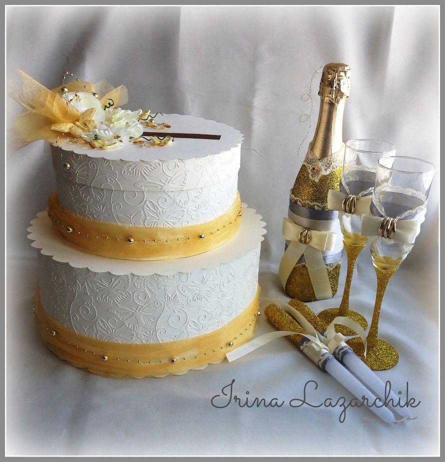 Свадебный торт казна, шампанское с бокалами и свечи - фото 11353488 Скрап мастерская Real Day