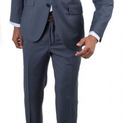 Голубой костюм в коричневую полоску Gagliardi