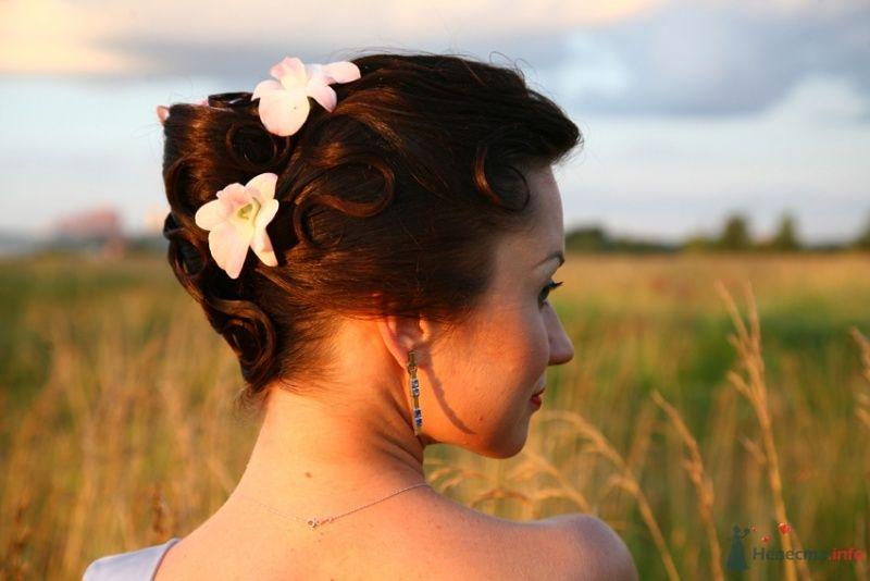 Свадебная прическа на длинные волосы, украшенная живыми орхидеями, свадебный макияж - фото 35284 Стилист-визажист Кандалова Елена