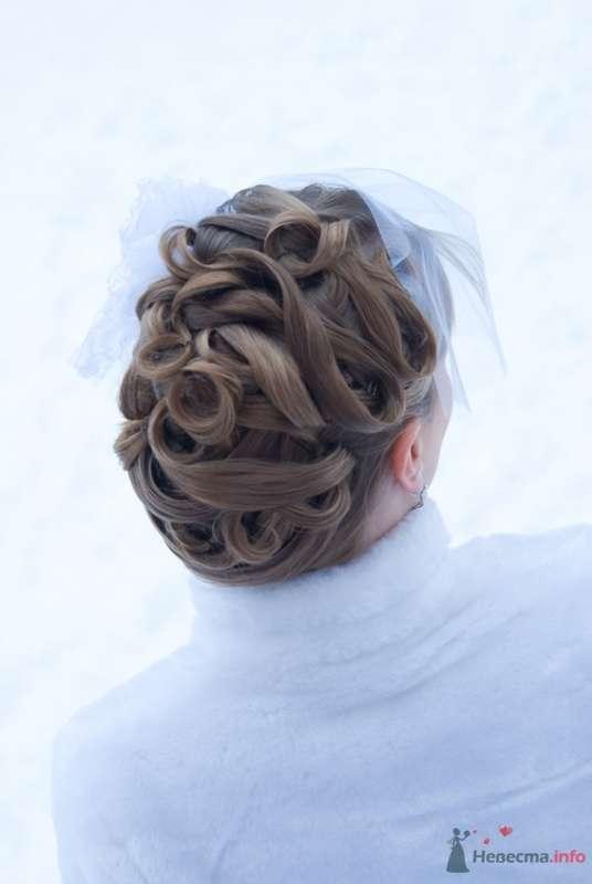 Свадебная прическа на длинные волосы, украшенная вуалеткой с розами.  - фото 70547 Стилист-визажист Кандалова Елена