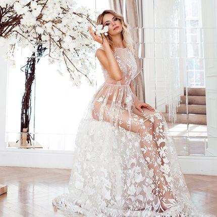 Цветочное будуарное платье для свадебного утра арт. 16