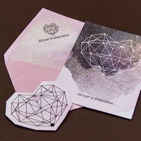 Конверт из тонкой дизайнерской бумаги серии Stardream. Вкладка и карточка из мелованной бумаги. Карточка двусторонняя Стоимость - 1,10 у.е  Кольцо из ленты и бирки в форме сердца оплачивается отдельно