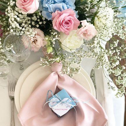 Подарки гостям + оформление гостевых приборов в цвет свадьбы