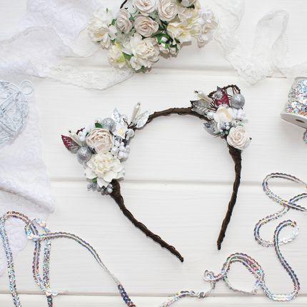 Ободок цветочные ушки белые с серебром