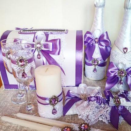 Набор свадебных аксессуаров Сиреневый цвет