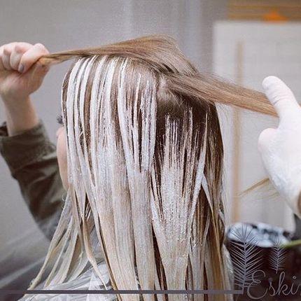 Окрашивание очень длинных волос в один тон