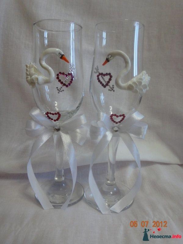 Прекрасные лебеди- можно в свадебном платье или с фатой - фото 495440 Свадебные бокалы ручной работы - Олеся