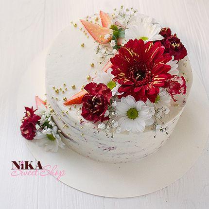 Бисквитный торт с цветами, цена за 1 кг