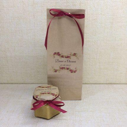 Медовая бонбоньерка в крафт-пакетике с рисунком, цена за 1 шт