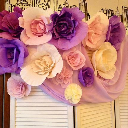 Декор бумажными цветами, цена за 1 шт