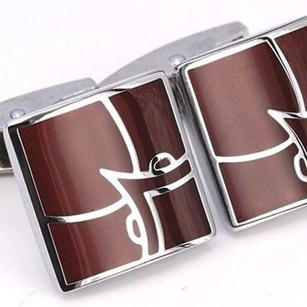 Запонки классические квадратные коричневые