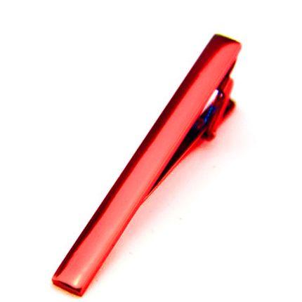 Зажим для галстука однотонный красный на прищепке
