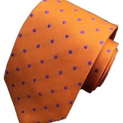 Галстук классический оранжевый в фиолетовый горошек