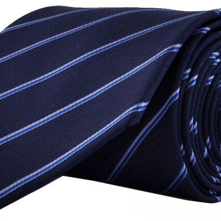 Галстук темно-синий в узкую голубую полоску