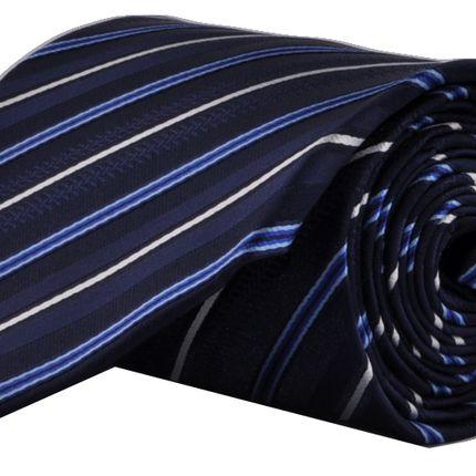 Галстук классический темно-синий в бело-голубую полоску