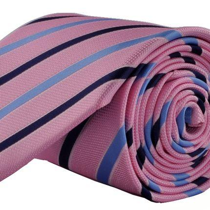 Галстук классический розовый в сине-голубую полоску