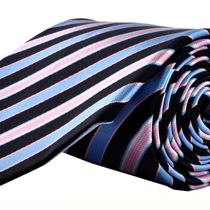 Галстук классический темно-синий в полоску