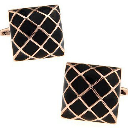 Запонки квадратные черно-золотые
