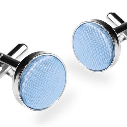 Запонки однотонные небесно-голубые