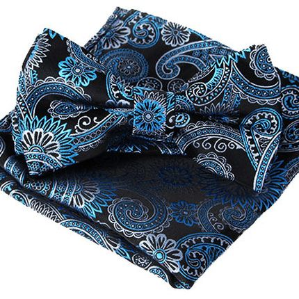 Комплект галстук бабочка и платок черные в цветочный рисунок