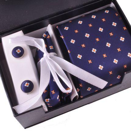 Комплект: галстук, запонки, платок темно-синий в цветочек