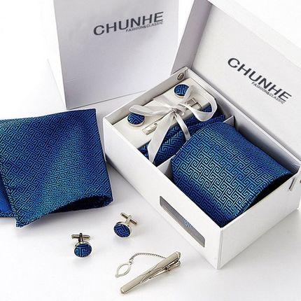 Комплект: галстук, запонки, платок, зажим голубой с орнаментом