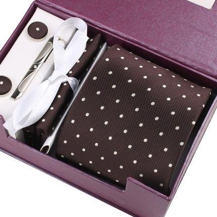 Комплект: галстук, запонки, платок, зажим коричневый в горошек