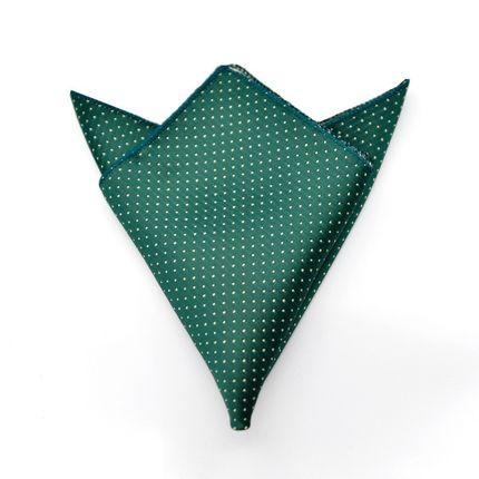 Нагрудный платок темно-зеленый в горошек